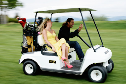 Bozeman Photographer - Golf cart couple