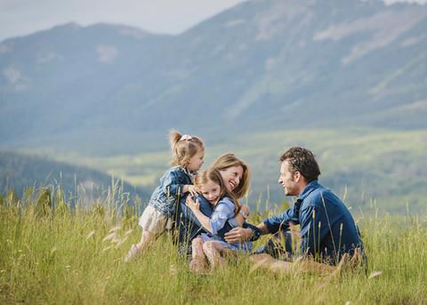 Family photo in Big Sky Montana - mountain side family