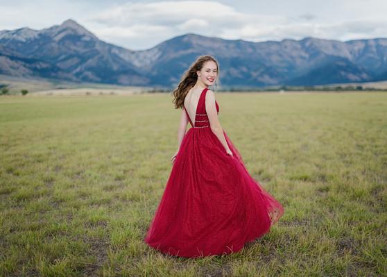 Bozeman Senior Photographer - red dress