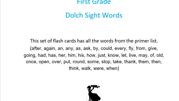 First Grade Dolch Sight Words Flashcards