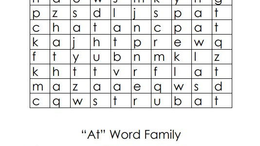 """""""At"""" Word Family Crossword Puzzle"""