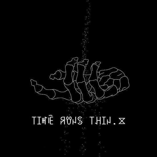 """Time Runs Thin. ⧖"" Sticker"