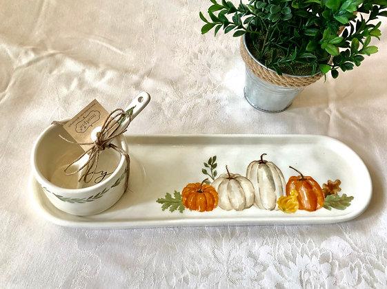 Ceramic Tray w/ Ceramic Bowl & Spoon