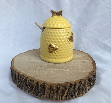 Stoneware Bee Honey Jar