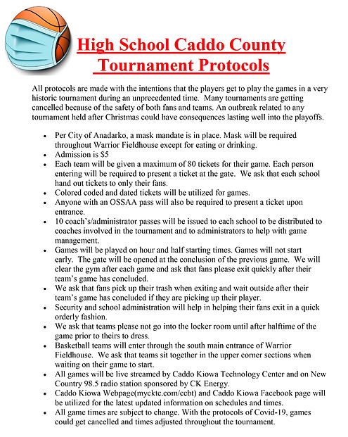 High School Caddo County Tournament Prot