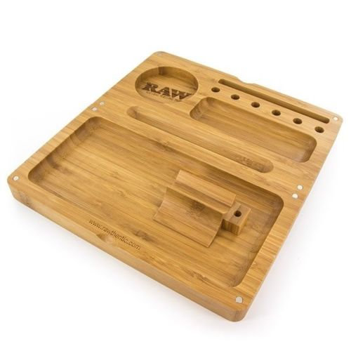 "Raw Backflip Bamboo Magnetic Rolling Tray - 4'"" X 8 1/2 "" - Rolling Box - Wood"