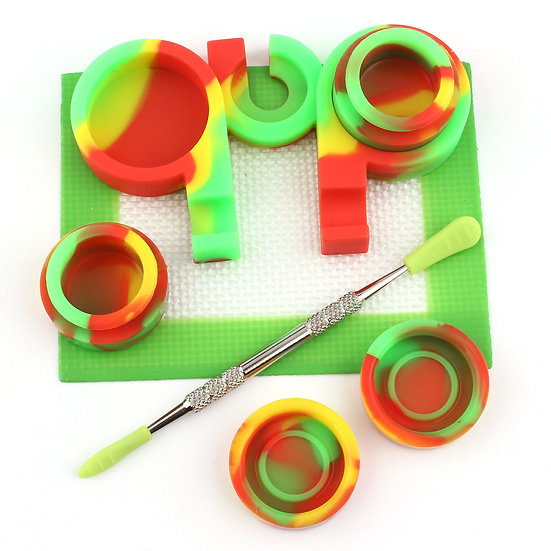 3ml Silicone Jar Container Silicone Non Stick Mat Chrome Stainless Dab-Tool Kit