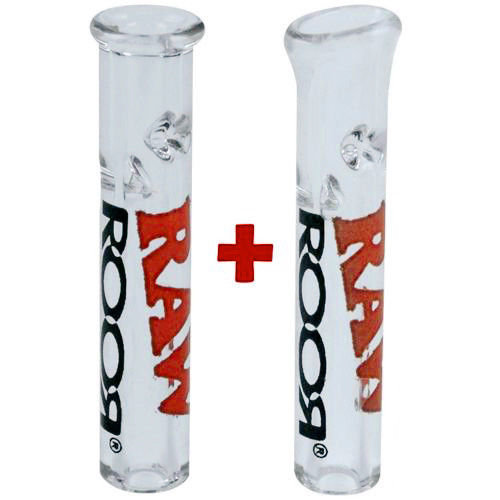 2x Raw Roor Glass Filter Tips (1 Flat & 1 Round)