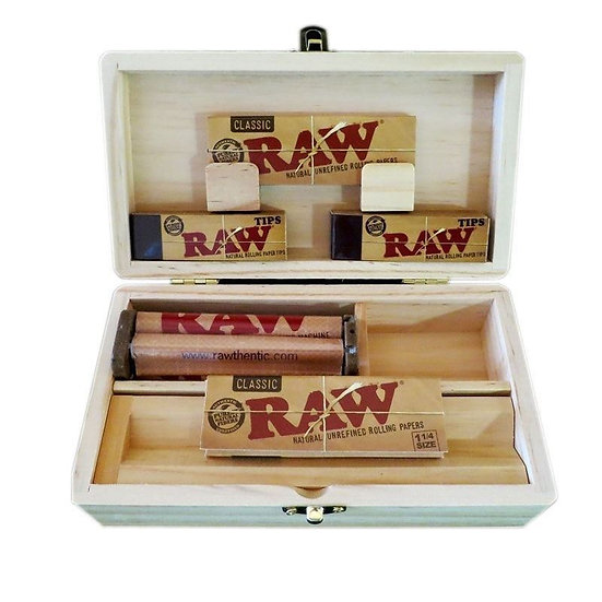 Rolling Tray Storage Stash Box 2 Raw Natural Paper 1 1/4, Roller, 100 Tips