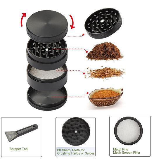 "2"" Tobacco Herb Grinder Spice Herbal Zinc Alloy Smoke Crusher 4 Pieces Metal"
