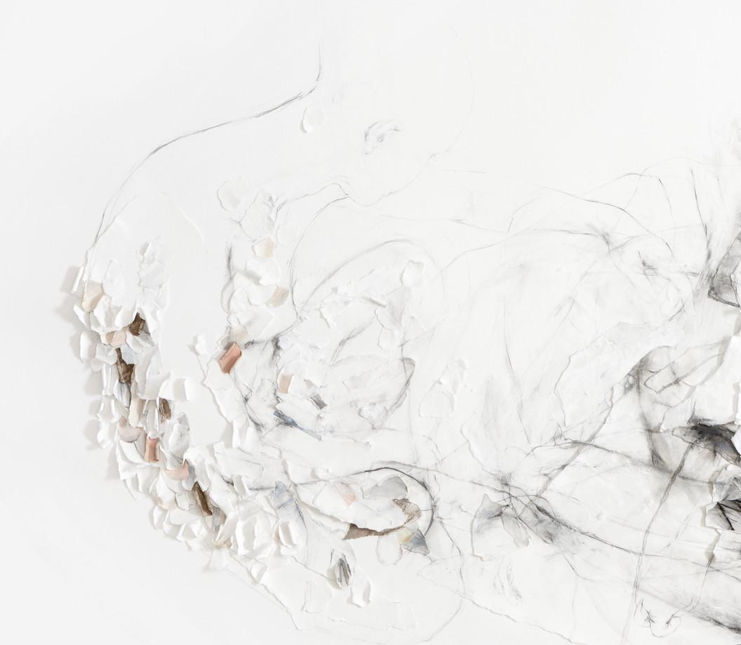 OHNE TITEL (DETAIL) PAPIERÜBERLAGERUNGEN, GRAFIT, ACRYL UND KREIDE AUF PAPIER 120 x 180 x 2 CM 2018
