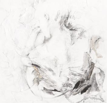 OHNE TITEL (DETAIL) PAPIERÜBERLAGERUNGEN, GRAFIT, ACRYL UND KREIDE AUF PAPIER 120 x 120 x 2 CM 2018