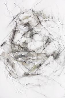 OHNE TITEL (DETAIL) PAPIERÜBERLAGERUNGEN, GRAFIT, ACRYL UND KREIDE AUF PAPIER 200 x 110 x 2 CM 2018
