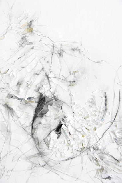 OHNE TITEL (DETAIL) PAPIERÜBERLAGERUNGEN, GRAFIT, ACRYL UND KREIDE AUF PAPIER 180 x 170 x 2 CM 2018