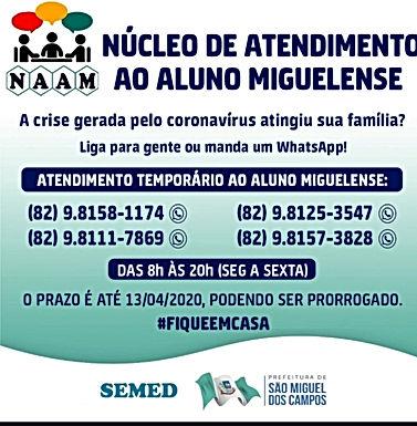 SEMED de São M. dos Campos cria núcleo para atender alunos e familiares durante a crise do covid-19
