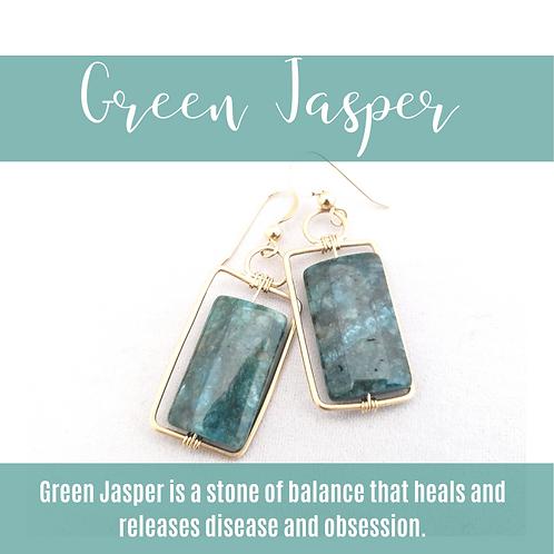 Green Jasper Rectangles & Gold