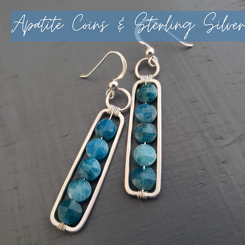 Apatite Coins & Sterling Silver