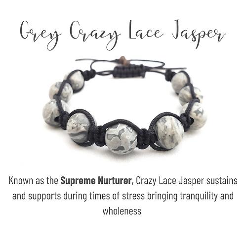 Grey Crazy Lace Jasper Shamballa