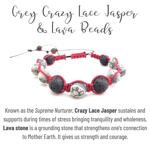 Grey Crazy Lace Jasper  & Lava Bead Shamballa