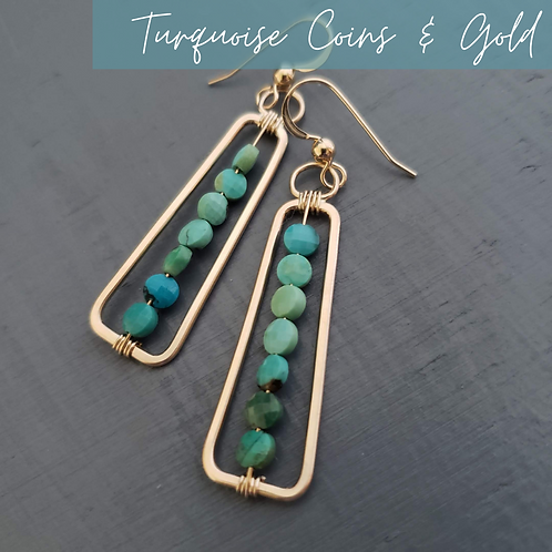 Turquoise & Gold Rectangles
