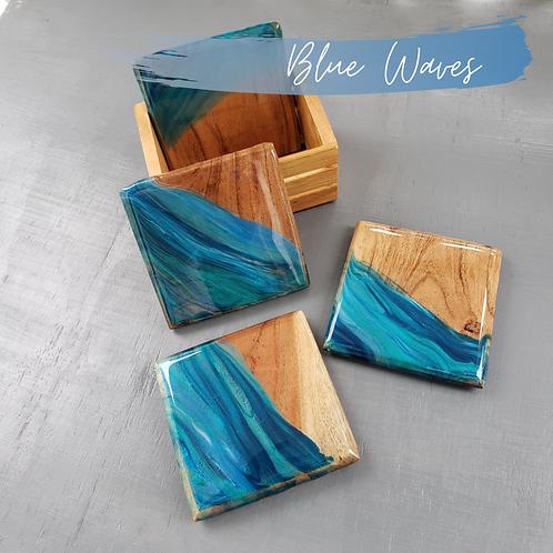 Blue Waves Wood Coasters/Trivets