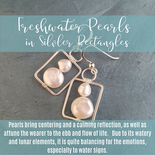 Freshwater Pearls in Silver Rectangles