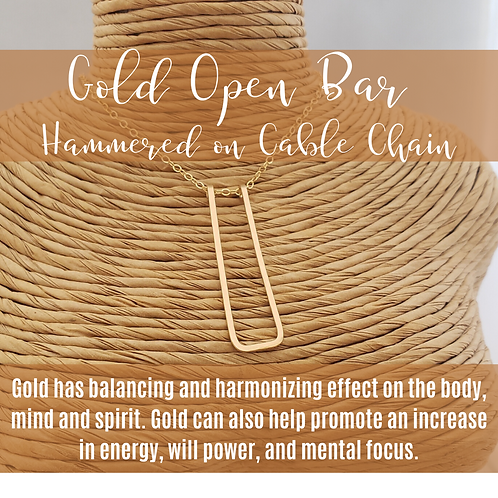 Gold Open Bar Hammered on Gold Cable Chain