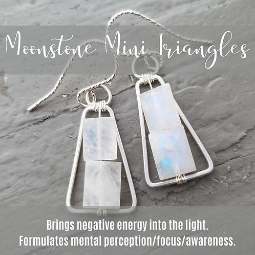Mini Moonstone Silver Triangles