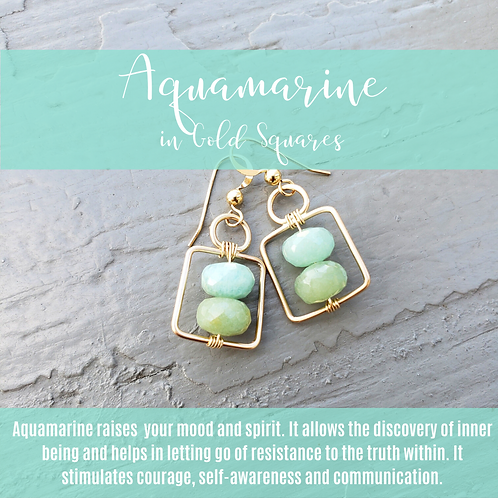 Aquamarine Squares Gold II