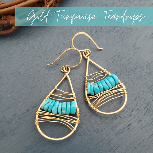 Gold Turquoise Teardrops