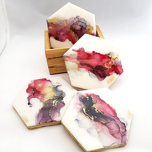 Red, Gray & Gold Coaster/Trivets