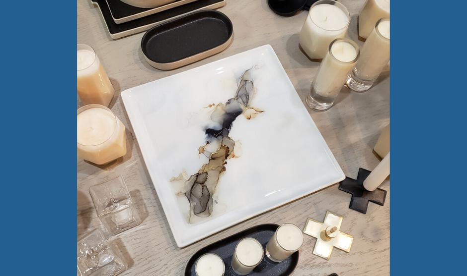 Cream, Grey & Gold Platter