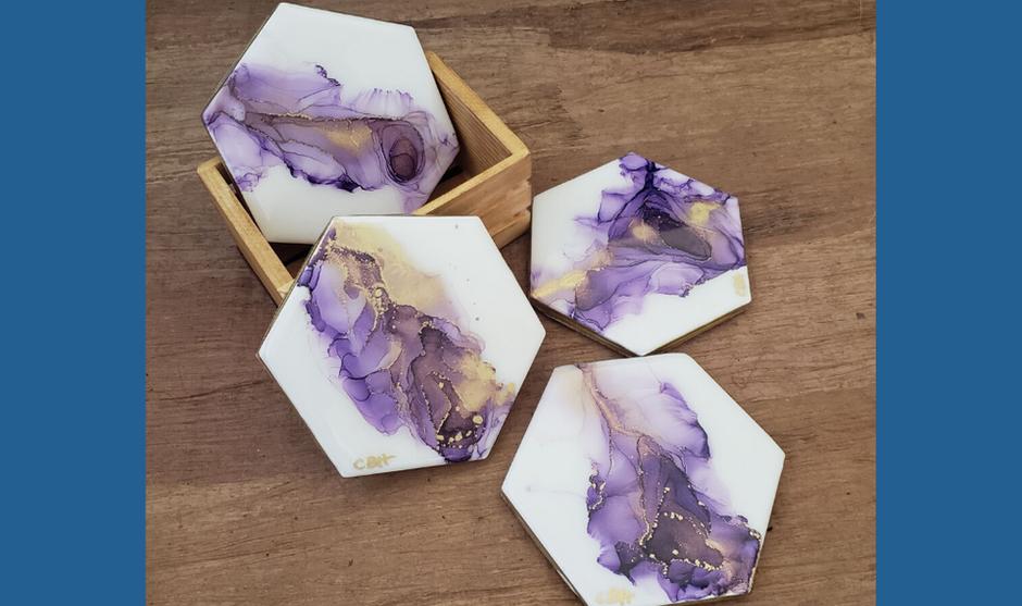 Purple & Gold Coasters