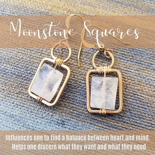 Moonstone & Gold Squares