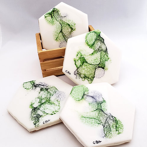 Green & Gray Coaster/Trivets