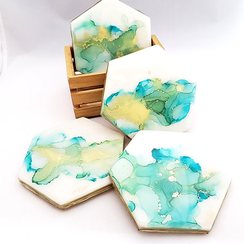 Turquoise & Gold Coaster/Trivets