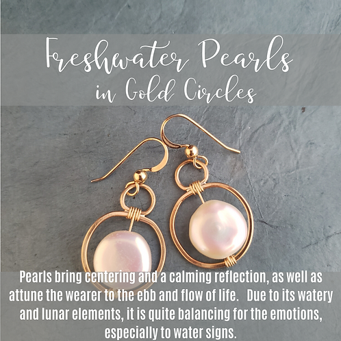 Freshwater Pearls in Gold Circles