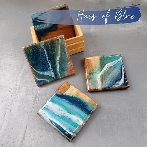 Hues of Blue Wood Coasters/Trivets