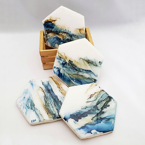 Blue, Green & Tan Coaster/Trivets