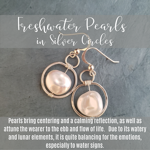 Freshwater Pearls in Silver Circles