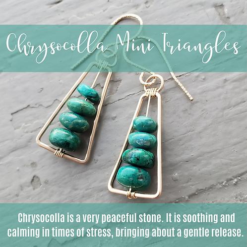 Chrysocolla & Gold Mini Triangles