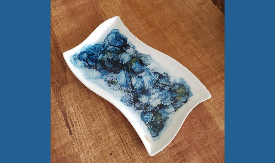 Blue & Gold Wave Platter