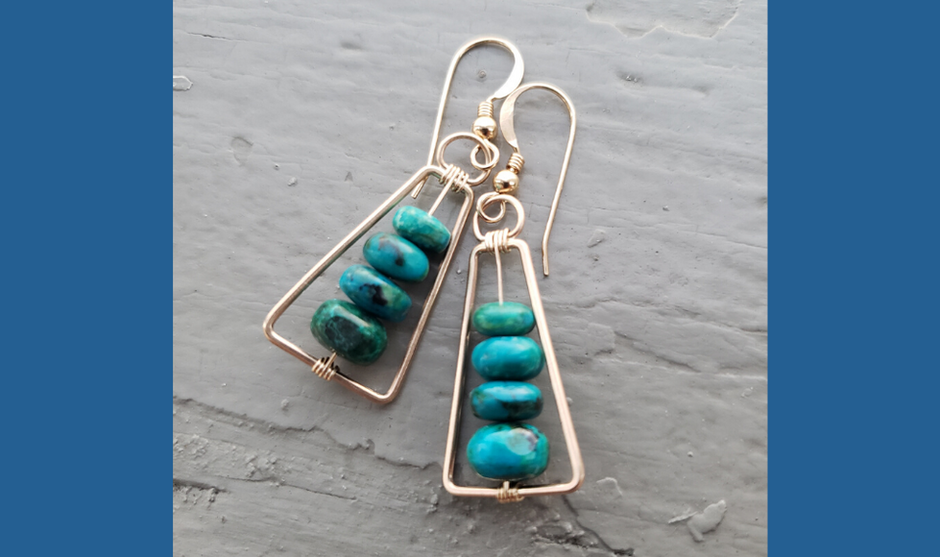 Chrysocolla & Gold Triangles