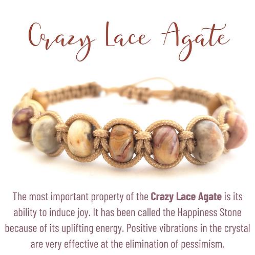 Crazy Lace Agate Rondelle Shamballa
