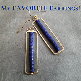Lapis and Gold Rectangle Earrings