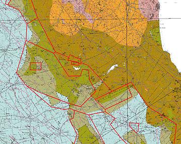 Geologisk karta över berggrunden framställd av SGU som visar dagutgående med alunskiffer med överlagda tillståndsgränser