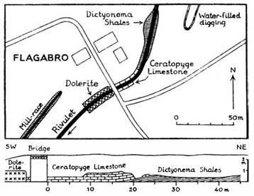 Diagram över skifferbrottet som visar stratigrafilagren i profil