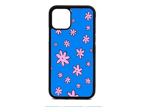 Blue pink flower phone case