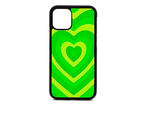 lime green heart phone case