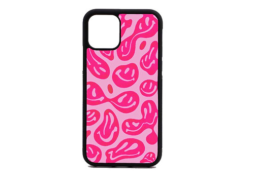 pink swirly face phone case